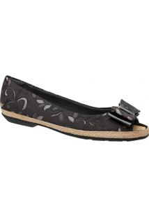 Sapatilha Peep Toe Feminina Piccadilly Tecido 105012 - Feminino