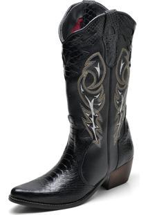 Bota Country Texana Click Calçados Montaria Couro Cano Longo Bico Fino Preta