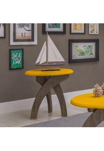 Mesa De Apoio Lateral Moderna Jade Artely Canela/Amarelo