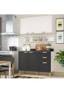 Cozinha Completa 4 Peã§As Americana Multimã³Veis 5918 Branco/Grafite - Branco/Incolor - Dafiti
