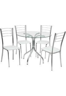 Conjunto De Mesa Com 4 Cadeiras Yohana Corino Cromado - Única