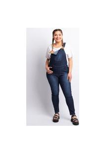 Macacão Plus Size Feminino Lavagem Escura Jeans