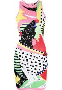 Balmain Vestido De Tricô Com Padronagem Abstrata - Rosa