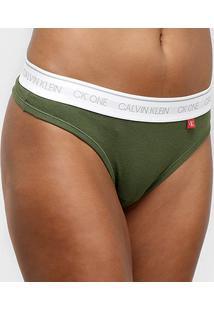 Calcinha Calvin Klein Fio Dental Ck One Basic - Feminino-Verde