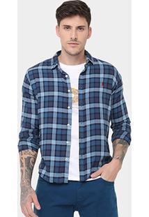 Camisa Reserva Flanelada Xadrez Vardo - Masculino-Azul