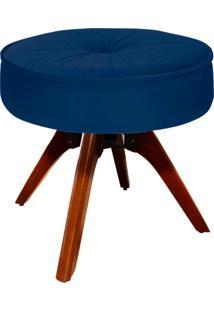 Puff D'Rossi Decorativo Julia Redondo Suede Azul Marinho Com Base Giratória De Madeira