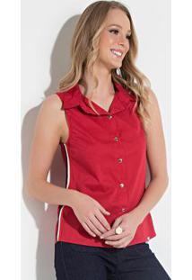 Blusa Quintess Vermelha Com Galão Nas Laterais