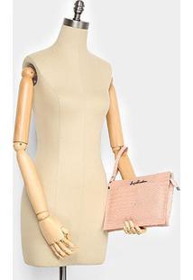 Bolsa Couro Luiza Barcelos Mini Bag Croco Feminina - Feminino-Nude