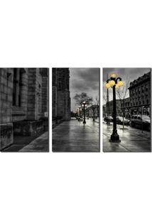 Quadro Preto E Branco Rua Molhada - Multicolorido - Dafiti