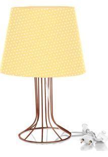 Abajur Torre Dome Amarelo/Bolinha Com Aramado Cobre
