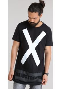 "Camiseta Longa ""X"" Com Tela Preta"