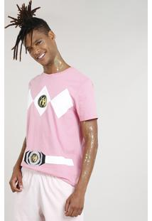 Camiseta Masculina Carnaval Power Ranger Rosa
