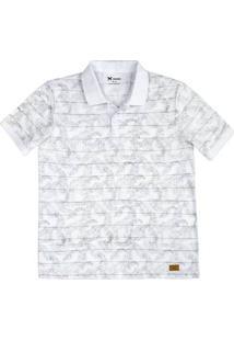Camisa Polo Masculina Slim Em Malha De Algodão Com Estampa Rotativa