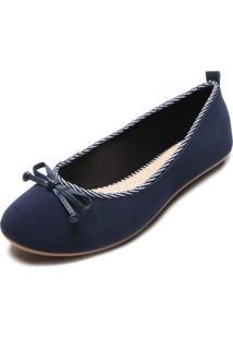 Sapatilha Moleca Laço Azul-Marinho