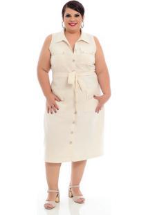 Vestido Alfaiataria Com Bolso Plus Size