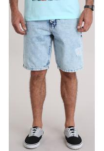 Bermuda Jeans Destroyed Azul Claro