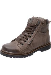 Bota Coturno Em Couro Mega Boots 6016 Cinza