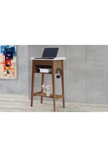 Escrivaninha Alta Poti Madeira Maciça - Acabamento Verniz Nozes E Branco - 62X38X105 Cm