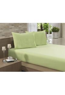 Jogo Cama Casal 3 Peças Verde Percal 150 Fios Fassini Têxtil
