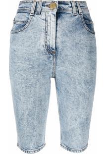 Balmain Bermuda Jeans Com Efeito Manchado - Azul