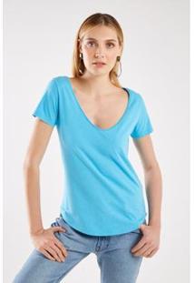 Tshirt Malha Básica Decote V Sacada Feminina - Feminino-Azul