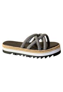 Sandália Salto Baixo Tecidos /Preto Corda Schutz