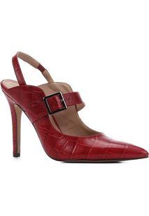 Scarpin Couro Shoestock Salto Alto Croco Bico Fino Fivela - Feminino-Vermelho