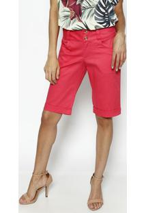 Bermuda Em Sarja Com Pespontos- Pink- Dress Todayênfase