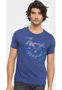 Camiseta Zoomp Lettering Masculina - Masculino-Azul
