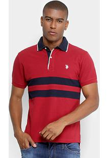 Camisa Polo Piquet U.S.Polo Assn Manga Curta Masculina - Masculino-Vermelho Escuro