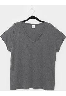 Blusa Lecimar Básica Plus Size Feminina - Feminino-Chumbo