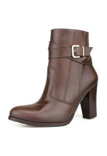 Bota Ankle Boot Sem Cadarço Café Dhatz Cano Medio