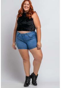 Shorts Bolso Lapela Almaria Plus Size Shyros Jeans