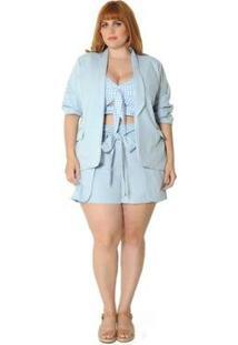Blazer Plus Size Gola Smoking Serenity Feminino - Feminino-Azul Claro