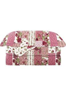 Conjunto De Colcha Patchwork Queen Size- Rosa Escuro & Bcamesa