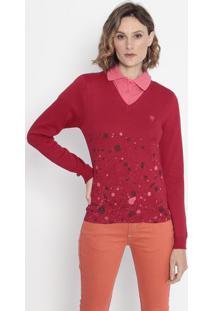 Suéter Em Tricô - Vermelho & Cinzacavalera