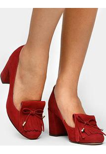 Scarpin Couro Shoestock Salto Médio Franjas - Feminino-Vinho