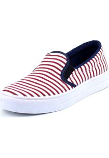 Tenis Tag Shoes Slip On Navy Vermelho
