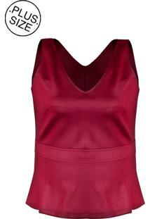 Blusa Linda D Regata Peplum Malha Scuba Plus Size Vinho (526)