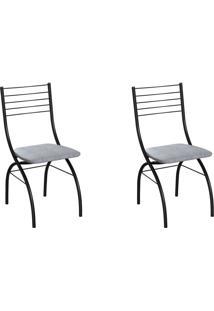 Conjunto Com 2 Cadeiras Devon Cinza E Preto