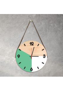 Relógio De Parede Decorativo Adnet Verde Claro E Branco Com Números Em Relevo Médio