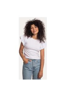 Camiseta Mangas Bufantes Em Cotton Branca Branco