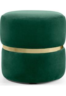 Puff Round- Verde & Dourado- 41Xø40Cm- Combinarecombinare