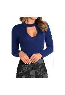 Body Choker Feminino Collant Blusa Feminina Viscolycra Gota Com Elastano Azul Marinho
