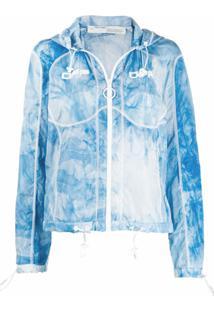 Off-White Jaqueta Corta-Vento Com Estampa Tie-Dye - Azul