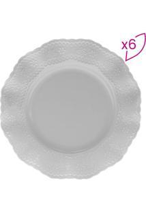 Jogo De Pratos Para Sobremesa Princess- Branco- 6Pçslyor