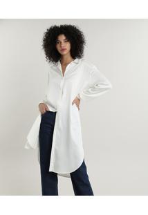 Camisa Feminina Mindset Longa Com Fendas Manga Longa Off White