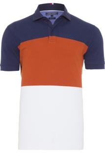 Polo Masculina Colorblock Regular - Azul