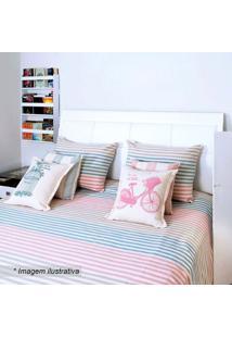 Colcha Romantic Solteiro- Azul & Rosa- 150X250Cmartesanal