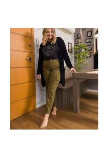 Calça Cargo Skinny Curve & Plus Size | Ashua Curve E Plus Size | Verde | 52